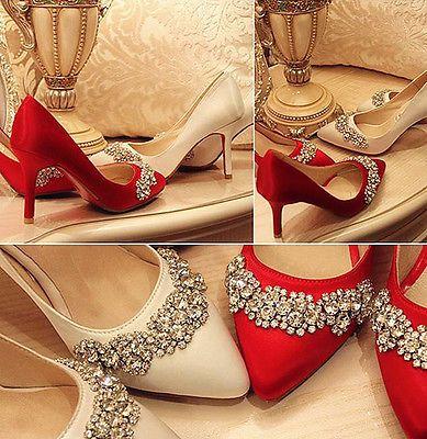 Marfim Luz Vermelha De Cetim de seda real Cristal sapatos Casamento Noiva saltos Bomba Tamanho 5-11