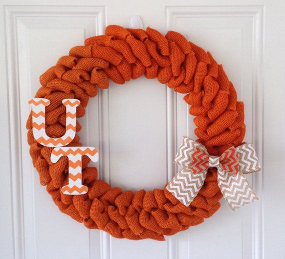 University Of Tennessee Orange Burlap wreath w/ Chevron bow and Chevron letters on Etsy, $47.00