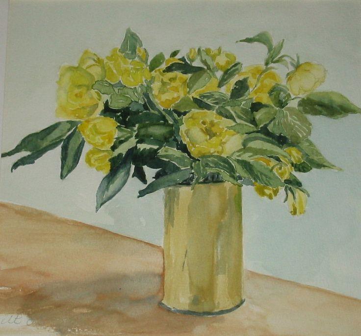 gule roser akvarel