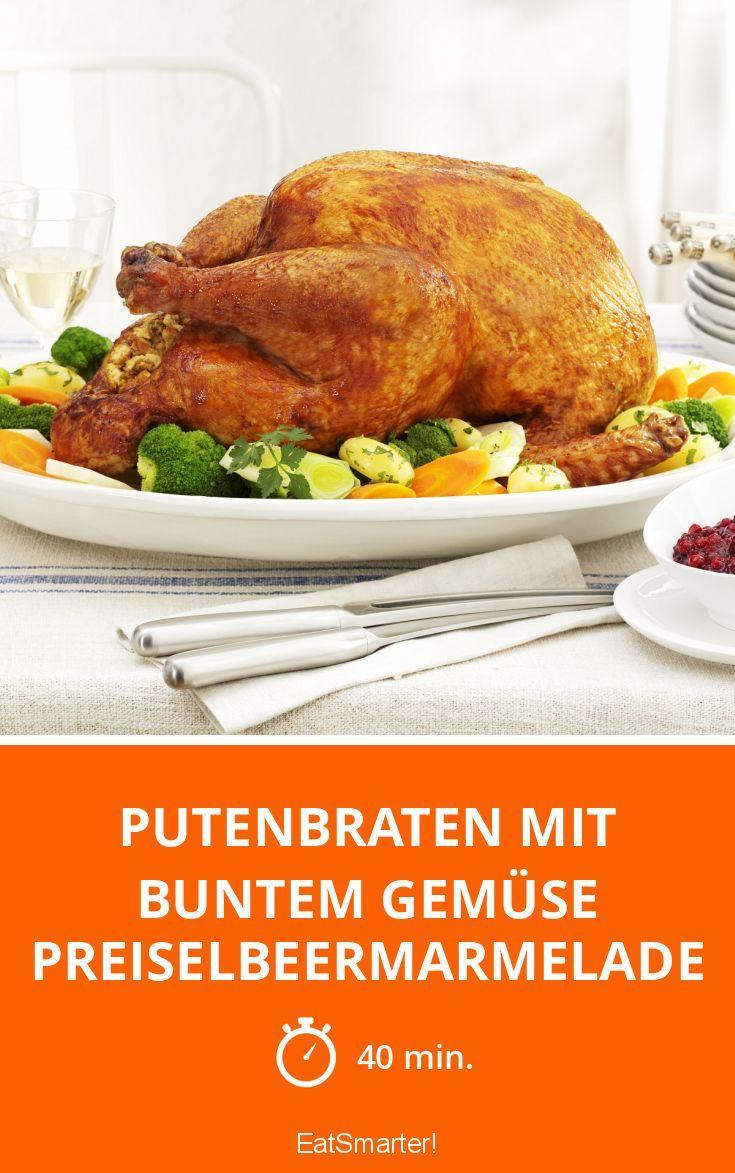 Putenbraten mit buntem Gemüse Preiselbeermarmelade - smarter - Zeit: 40 Min. | eatsmarter.de