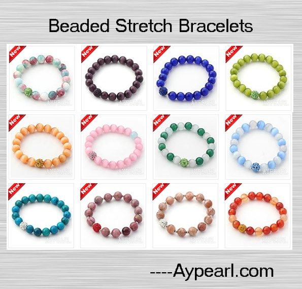 Many Different Styles Of Beaded Stretch Bangle Bracelets At