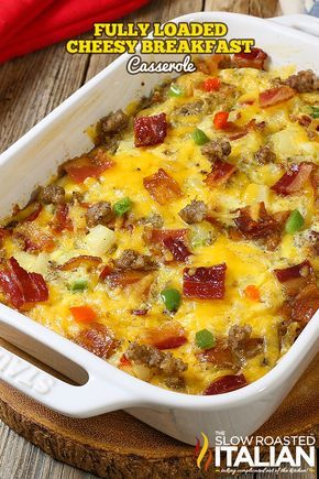 Fully Loaded Cheesy Breakfast Casserole is all of our favorite things in an easy breakfast recipe that you can make ahead. Packed with eggs, potatoes, veggies, sausage AND bacon it is truly a full breakfast in one dish.