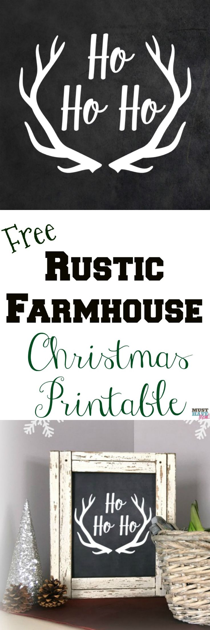 Free rustic farmhouse Christmas printable! Love this Christmas farmhouse decor idea. Free Christmas printable Ho Ho Ho rustic chalkboard sign is perfect for farmhouse decor idea!