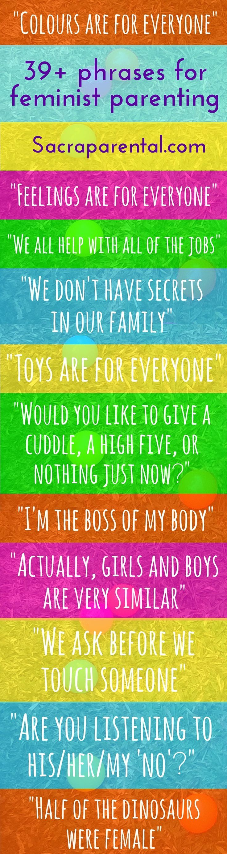 Gender neutral parenting infographic: 'Colours are for everyone!' - one of a great list of phrases for feminist parenting | http://Sacraparental.com