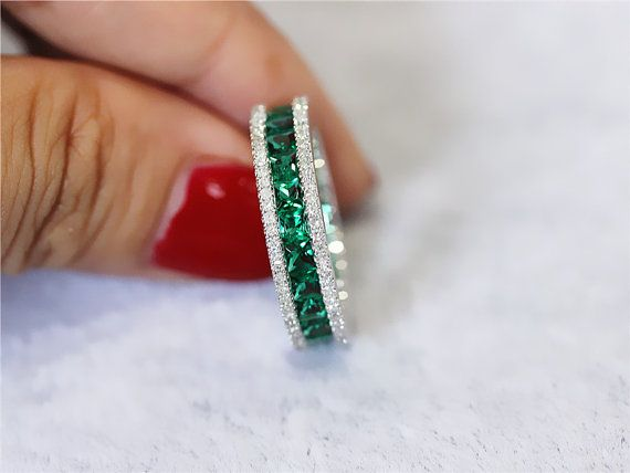 Treated Emerald Ring/ Full Eternity 2.36ct Princess by LoveGemArts
