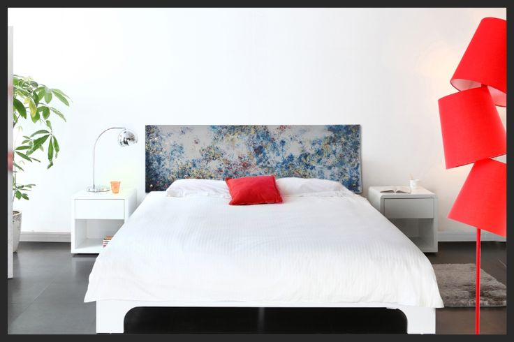 """Tête de lit décoration chambre """"Tourbillon"""", peinture et feuilles de cuivre sur plexiglas"""