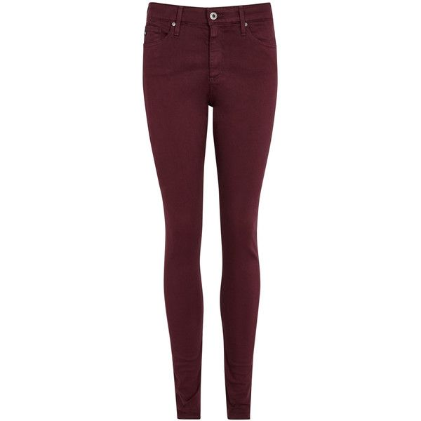 AG Jeans The Farrah burgundy skinny jeans ($225) ❤ liked on Polyvore  featuring jeans, stretchy high waisted jeans, skinny fit jeans, high waisted  skinny ... - The 25+ Best Burgundy Skinny Jeans Ideas On Pinterest Burgundy