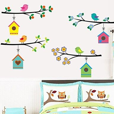 muurstickers+muur+stickers,+cartoon+vogels+huis+pvc+muurstickers+–+EUR+€+8.81