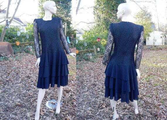 80s Prom Dress by Torino Fashions in Black Lace by gottagovintage1, $55.00