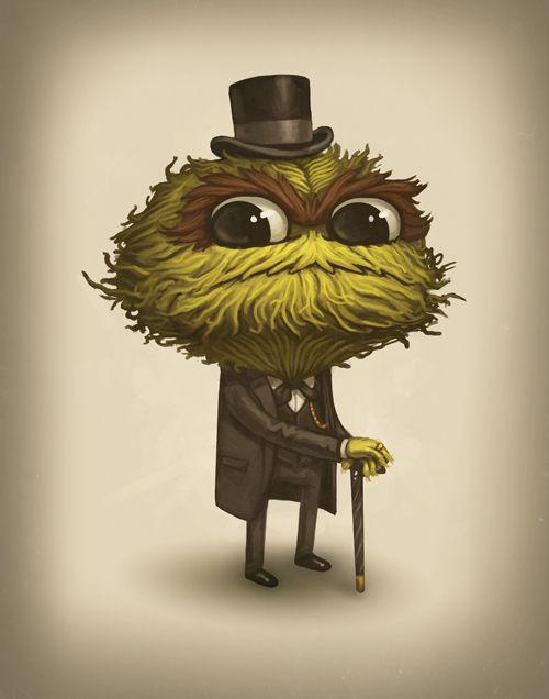 Oscar The Grandiose by Mike MitchellMary Poppins, Friends, Like A Sir, Jim Henson, Oscars The Grouch, Illustration, Art, Wall Clocks, Sesame Streets
