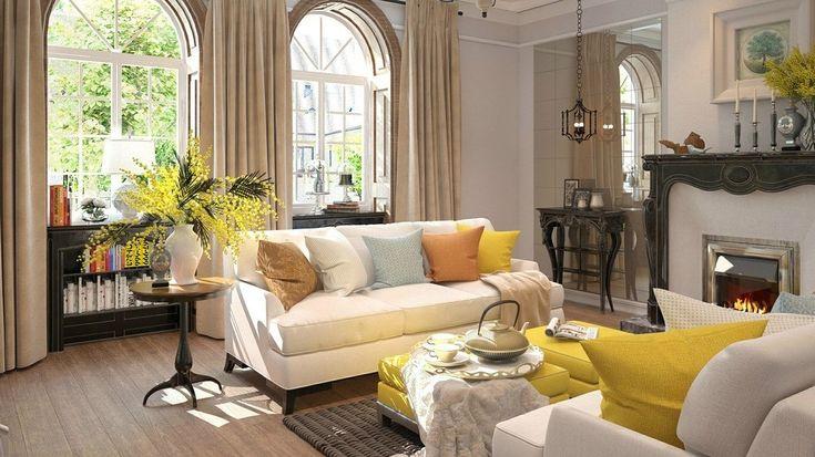 Уютная гостиная в американском стиле - Дизайн интерьеров | Идеи вашего дома | Lodgers