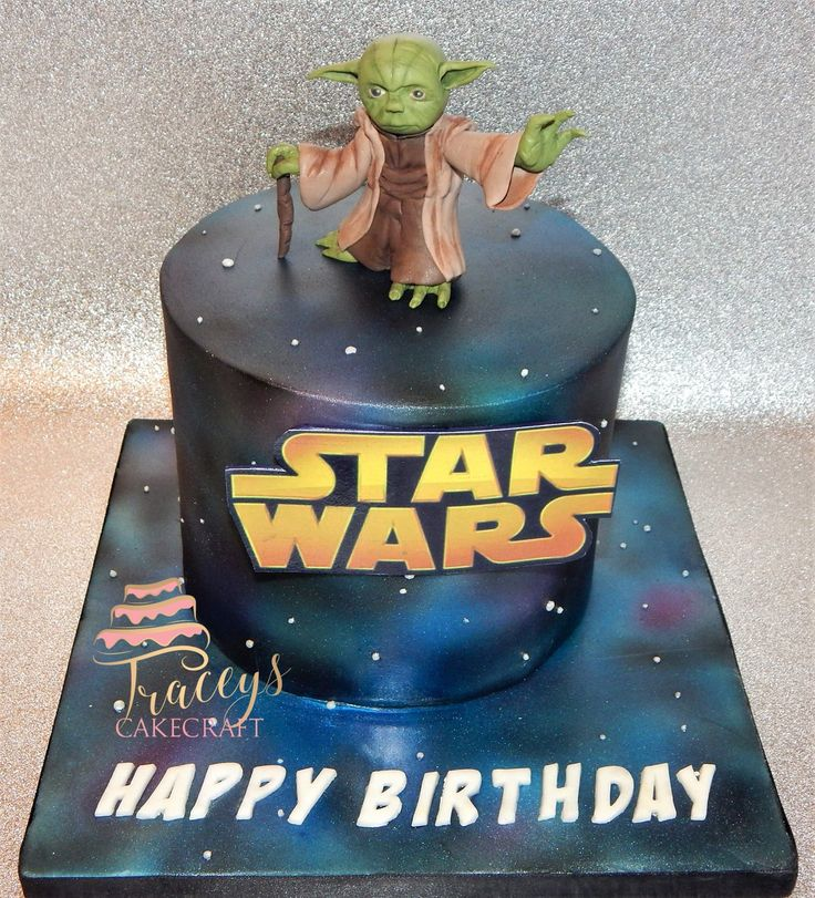 Star Wars cake with edible Yoda topper