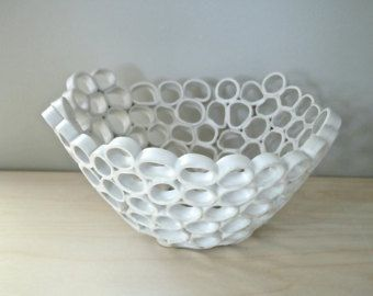 White ceramic fruit bowl contemporary design by GolemDesigns