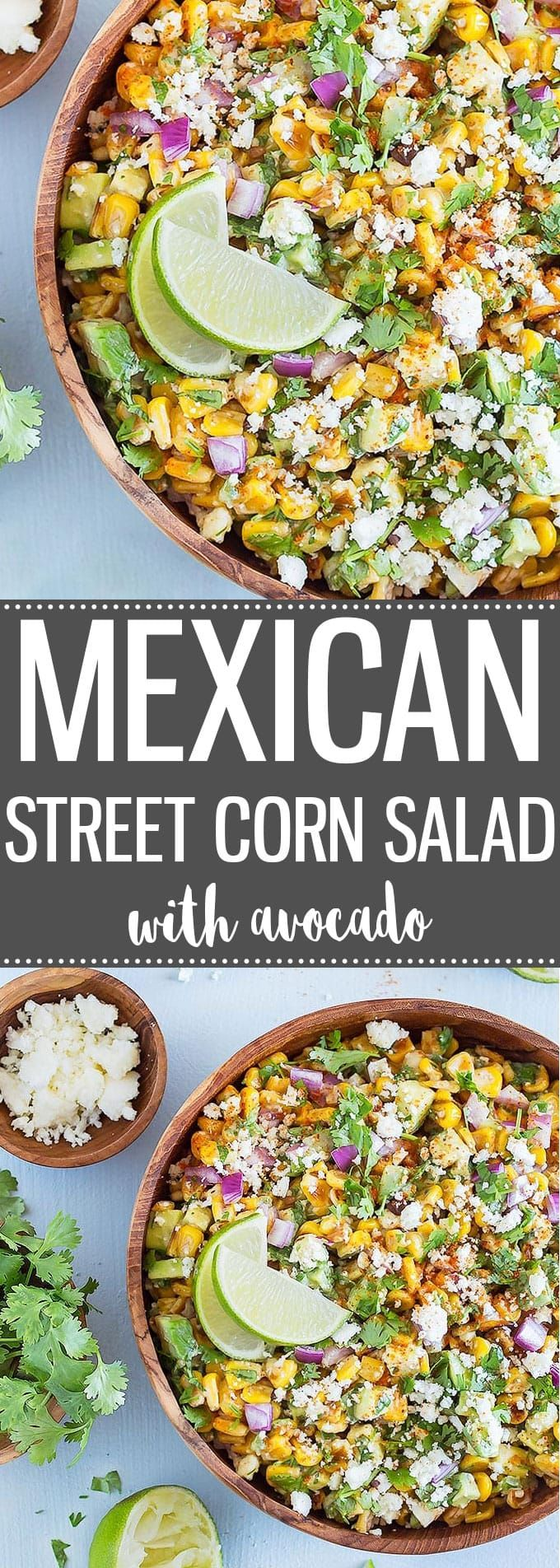 Mexican Street Corn Salad with Avocado is always a crowd-pleaser! It's fast and easy to prepare, and has a tasty balance of fresh flavors and textures. With Cinco de Mayo just around the corner, this recipe is definitely on my list! via @easyasapplepie