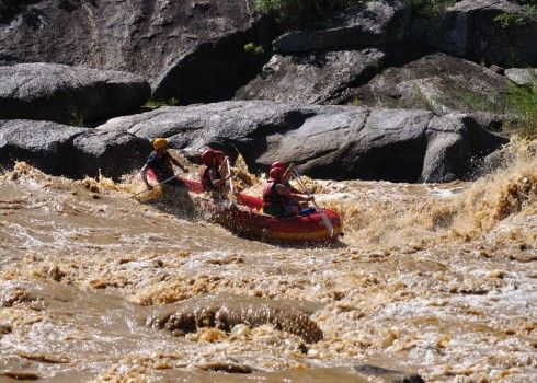 River Rafting in South Coast KwaZulu-Natal - The Drakensberg is a high rainfall area and this water feeds many of the great rivers that end their journey in the KwaZulu-Natal South Coast. The Umkomaas river (or Mkomati River) starts its journey at an altitude of over 3,000 meters. From its source near the Giant's Castle, it travels 298 kilometers to its mouth on the Indian Ocean.