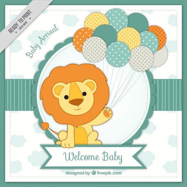 Scheda di arrivo del bambino con il leone Vettore gratuito