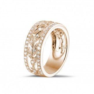 Roodgouden Diamanten Verlovingsringen - 0.35 caraat brede florale alliance in rood goud met kleine ronde diamanten