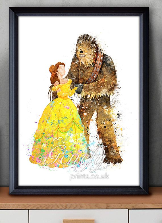 Disney Star Wars Princess Belle Beauty and the Beast (Chewbacca) Watercolor Poster Print - Watercolor Painting - Watercolor Art - Kids Decor