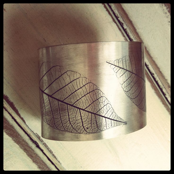 Sterling silver cuff, roller print.