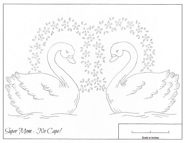 Vintage Embroidery Pattern of Large Swans from Workbasket Sheet #84