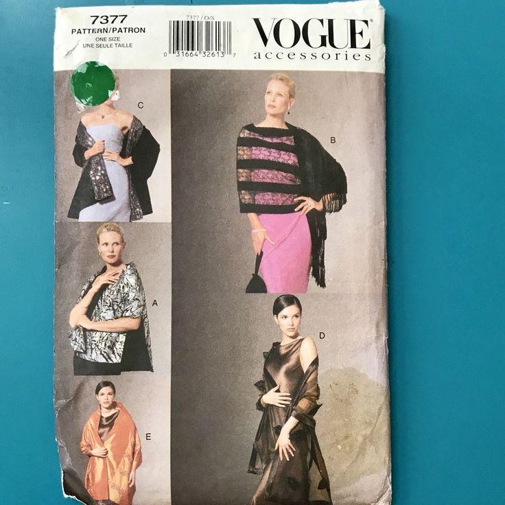 Vogue 7377 Ladies Evening Shawl Sewing Pattern One Size Wrap Throw Uncut FF NOS #VoguePatterns #Shawl
