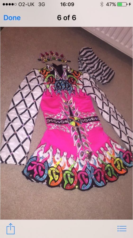 Impressive Pink Alana Mallon Irish Dance Dress Solo Costume For Sale