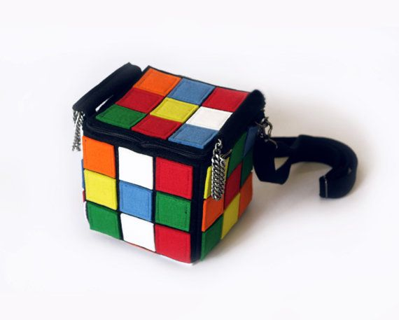 Rubiks Cube Multicolor Felt Bag