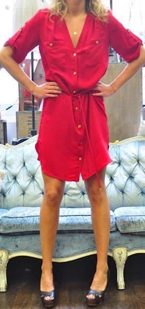 red silk shirt dress... pretty