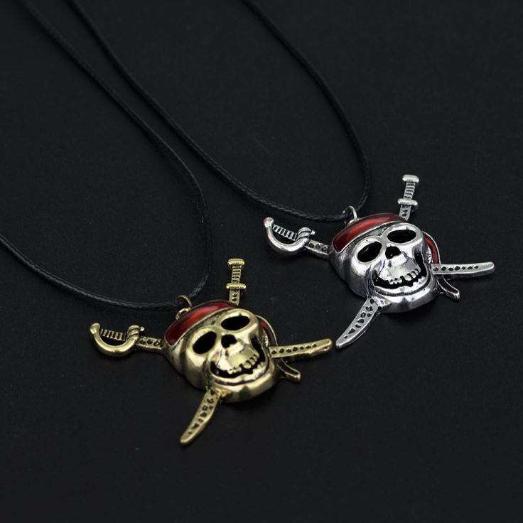 Hot Movie Pirates Of the Caribbean Necklace Captain Skeleton Mask Skull And Crossbones Necklace For Fans Gift -30 #Affiliate
