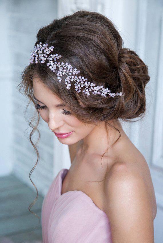 Romantic rose bridal custom long hair vines Wedding silver pink headpiece Tiara delicate headband Crown Boho