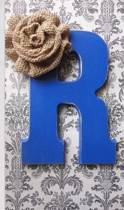 Royal blue and burlap guest sign in letter B... Add a stand to it later to display in the house after the wedding.