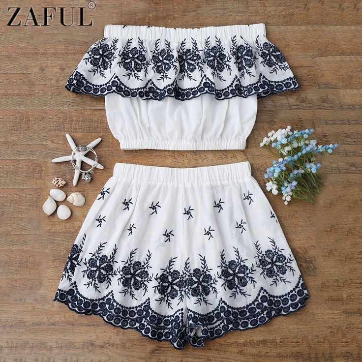 ZAFUL Bordado Crop Top Con Shorts Ladies Beach Cover Up fuera Del Hombro Bikini …