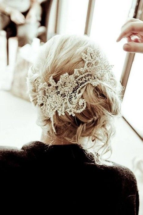 Looks like a DIY project. Just gotta find a piece of lace that looks like this and just bobby pin it to my hair every time.