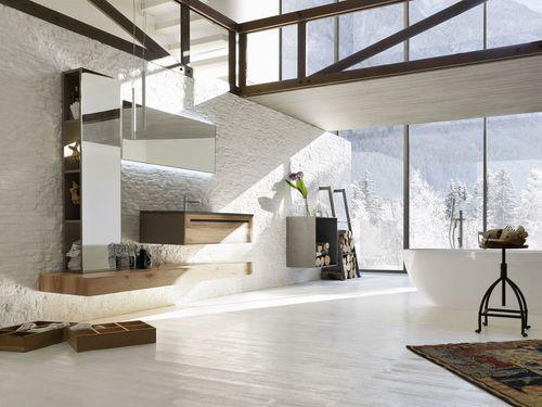 Muebles Para Baño Lowes:Mueble de lavabo moderno / de roble / suspendido / con espejo luminoso