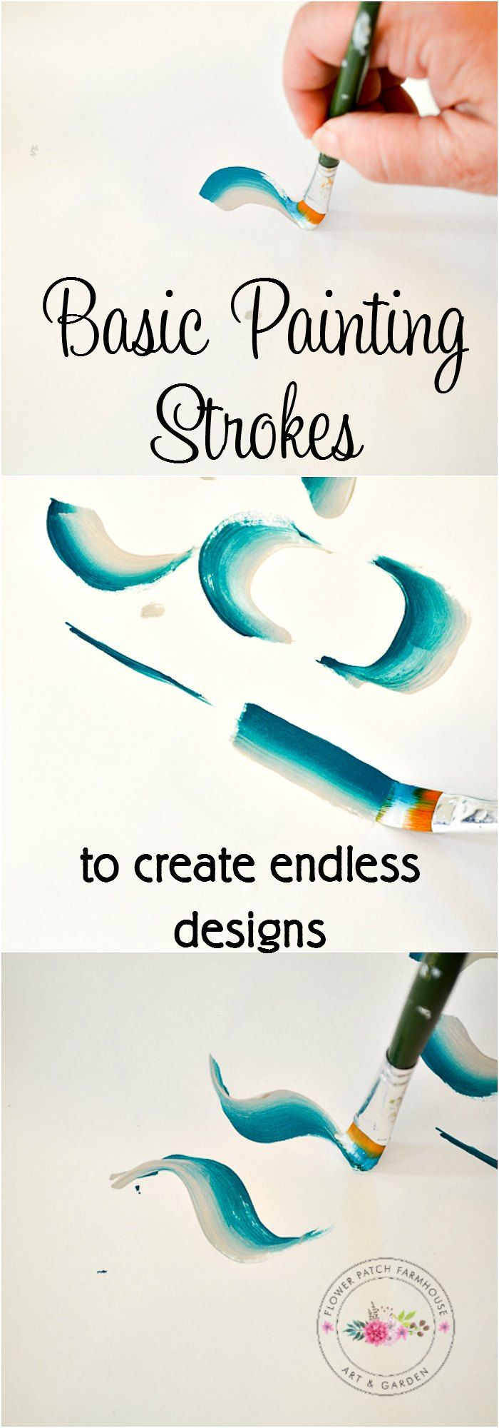 Basic Brush Strokes for decorative painting. With just a few different strokes you can make endless designs, scroll work, flowers and other fabulous DIY Decor. Paint gifts or just enjoy crafting for t