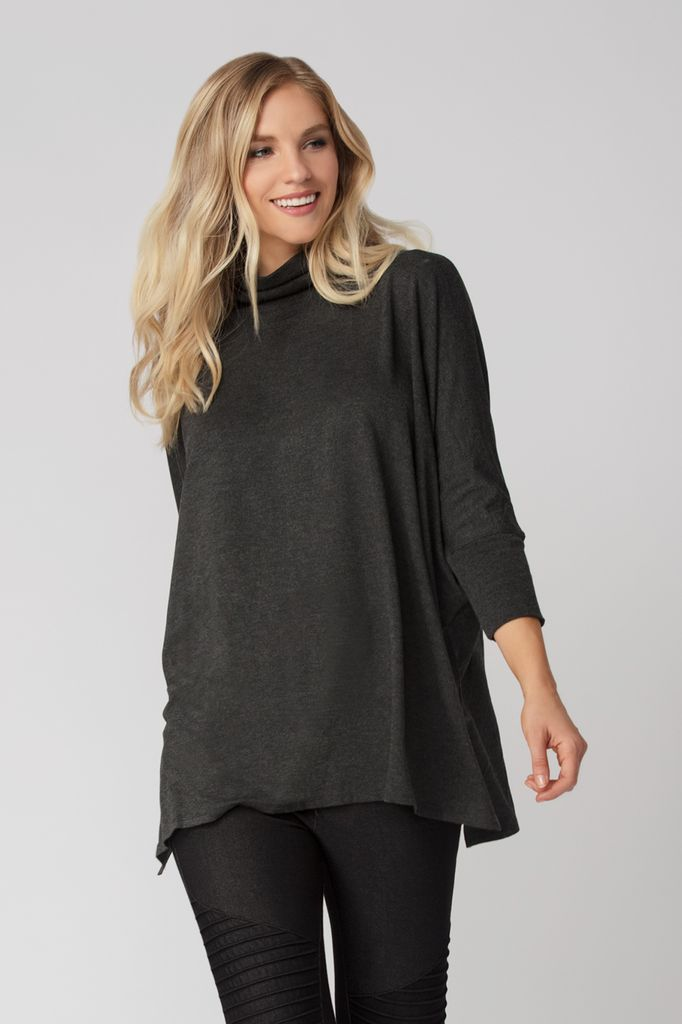 Womens Organic Bamboo Viscose Turtleneck Sweater in Charcoal - LNBF Sustainable Clothing Designed in Canada