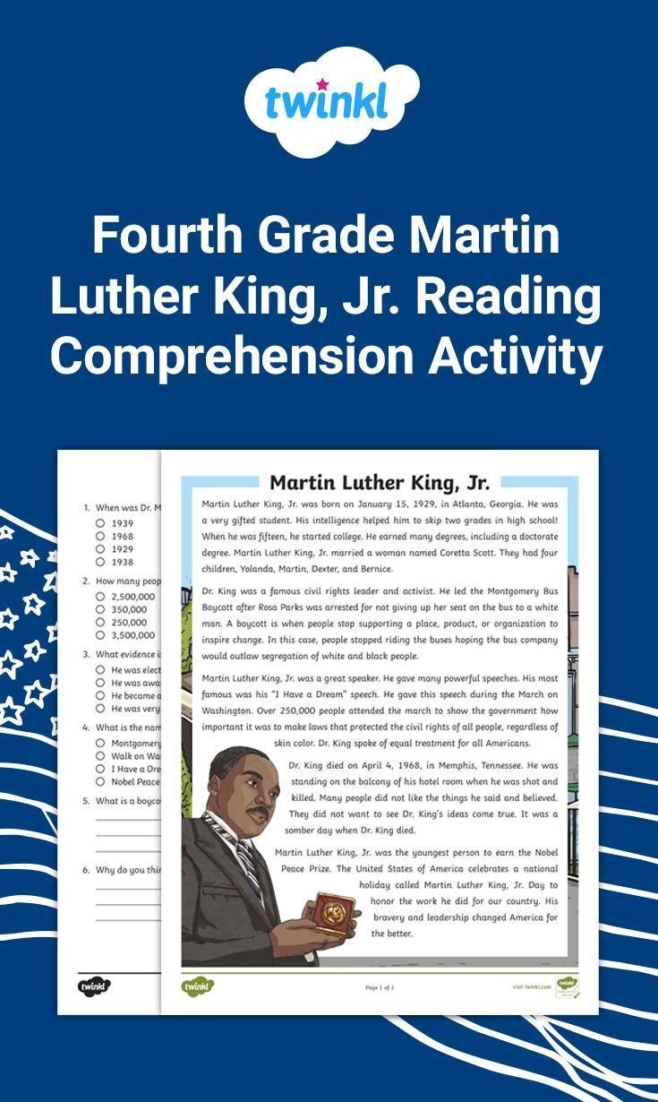 4th Grade Martin Luther King Jr Reading Comprehension Activity Reading Comprehension Activities Reading Comprehension Comprehension Activities [ 1230 x 735 Pixel ]