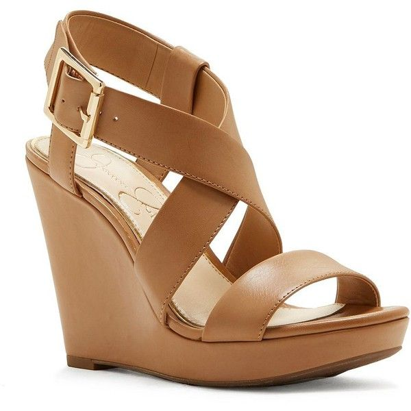 Jessica Simpson Crisscross-Strap Wedge-Heel Sandals ($59) ❤ liked on Polyvore featuring shoes, sandals, tan, heeled sandals, jessica simpson sandals, tan wedge sandals, wedge heel sandals and wedges shoes