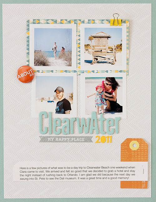 Love the design and white borders on the photos. And the cute yellow clip!