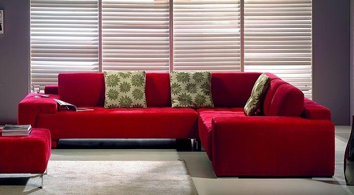 cortinas para sala com sofá vermelho