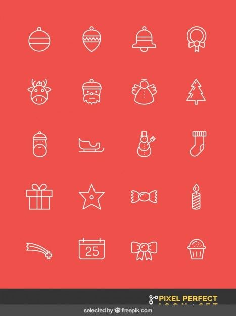 Outlined christmas icons set Free Vector