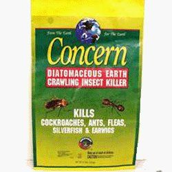 Concern 97064 Diatomaceous Earth Crawling Insect Killer 4 Pound Bag by Safer. $19.49. Insects cannot develop resistance, no build-up of chemical immunity. Kills ants, silverfish, cockroaches, fleas and slugs among others within 48 hours of contact. 4 lb. bag. OMRI-listed and compliant for use in organic gardening. Contains diatomaceous earth (85%). From the Manufacturer                This crawling insect killer harnesses the power of diatomaceous earth (85%). Made from...