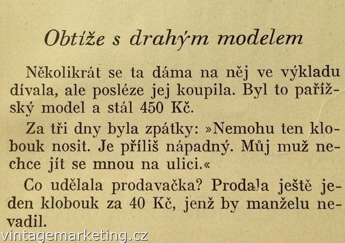 Obtíže s drahým modelem klobouku. http://www.vintagemarketing.cz #vintagemarketing