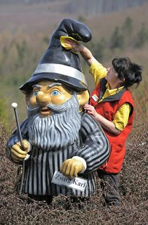 A gnome in Trusetal, Germany. --   The best place to go to visit and see gnomes is in Trusetal, Germany.  There is the gnome theme park, where you can find hundreds of gnomes. Not to mention it is thought that the gnomes birth place is in Germany as well.