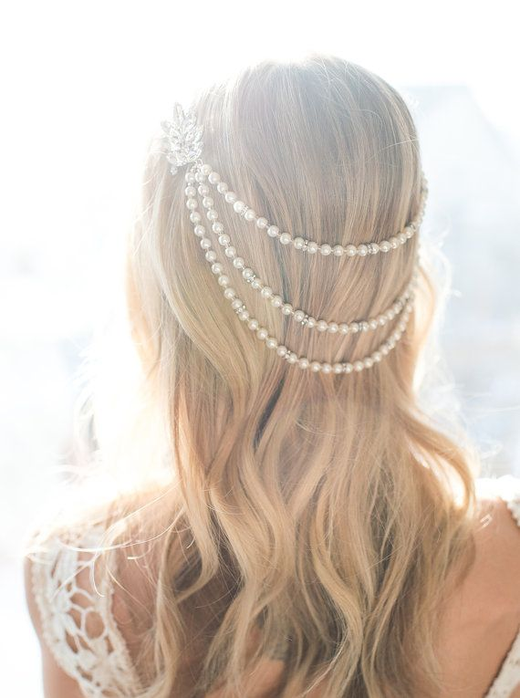 This romantic pearl hair chain is a true statement piece for the vintage inspired wedding! This pearl bridal headpiece combines three strands of