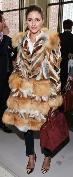 olivia palermo in Alberta Ferretti (2012) #fur #olivia palermo #alberta ferretti