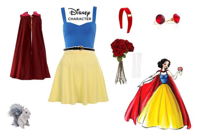 snow white by mayleneholm on Polyvore featuring Motel, Miss Selfridge, BonBon Boutique, Carolina Amato, Salvatore Ferragamo, Therapy, Sia and Disney