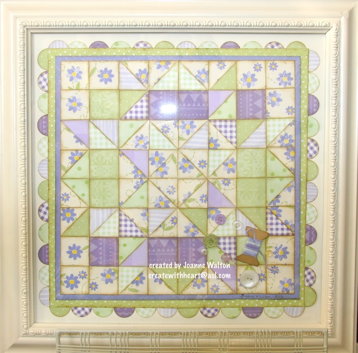 beautiful custom paper quilt created for customer!  paper piecing, embossing, sponging, buttons, floss oh my!: Paper Quilt