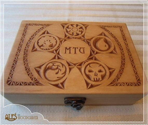 Magic the Gathering card box  MTG EDH deck by Alesthewoodcarver