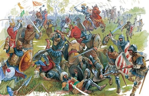 The Battle of Rovine took place on 17 May 1395 between the Wallachian army led by Voivod Mircea cel Bătrân (Mircea the Elder) against the Ottoman invasion led by sultan Bayezid I. The Ottoman army, numbering approximately 40,000 men, faced the much smaller Wallachian army, which was about 10,000 men.  During the battle the main role was played by the Wallachian archers, who annihilated the Ottomans at the onset of their attack. Wallachian cavalry charged & routed the Ottomans across the…